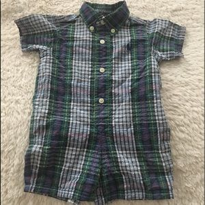 Green Plaid Ralph Lauren Kids One Piece Outfit